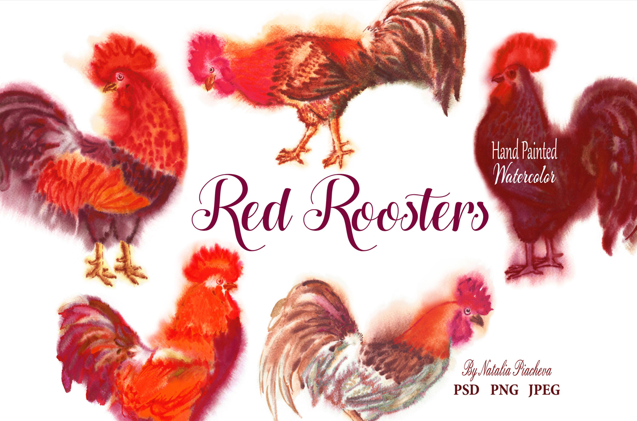 Red Watercolor Roosters example image 1