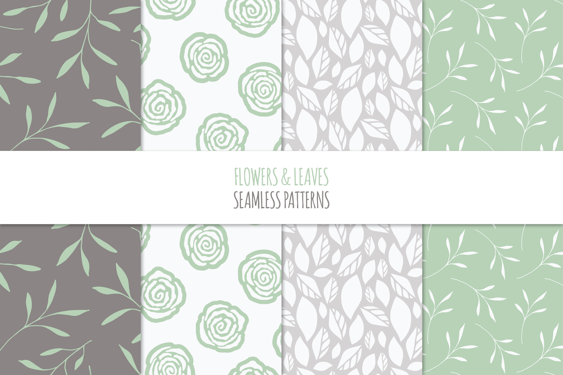 Floral Seamless Patterns - Green example image 4