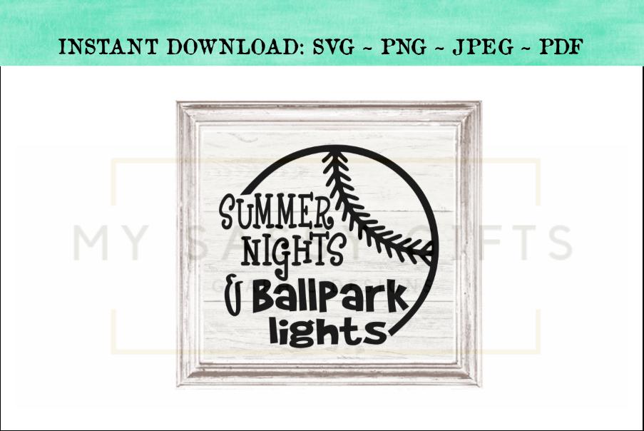 Summer Nights and Ballpark Lights Baseball SVG example image 3