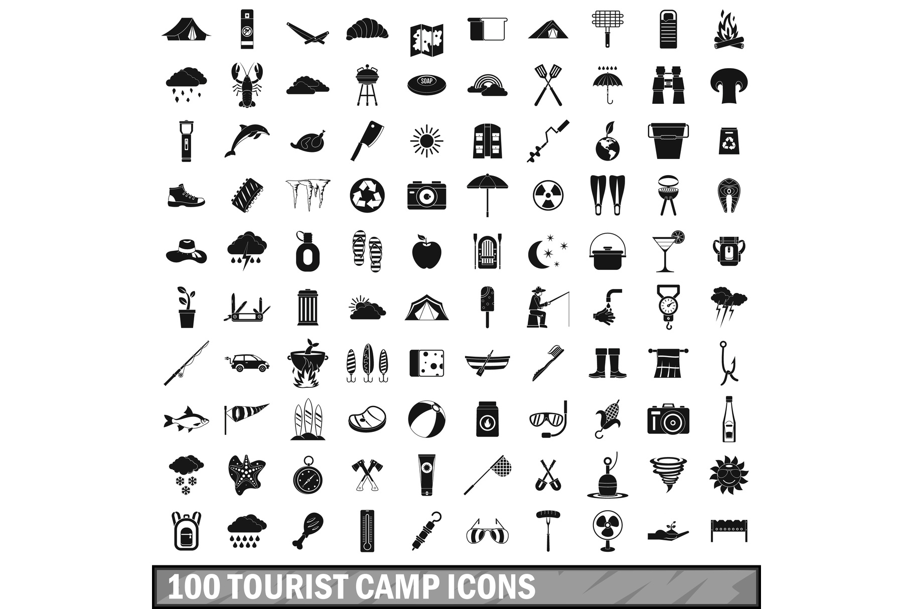 100 tourist camp icons set, simple style example image 1