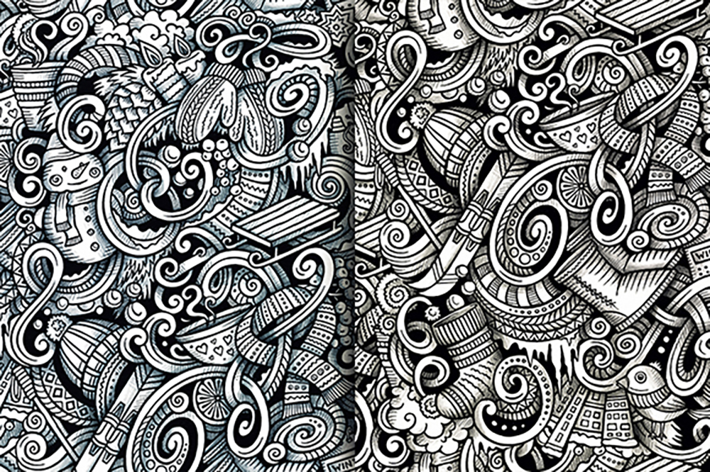 Winter Graphic Doodles Patterns example image 4
