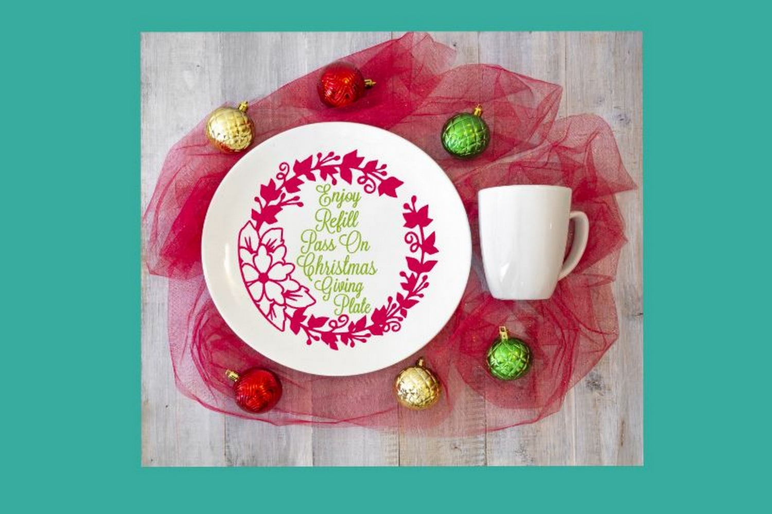 SVG Cut File Christmas Giving Plate Design #08 example image 3