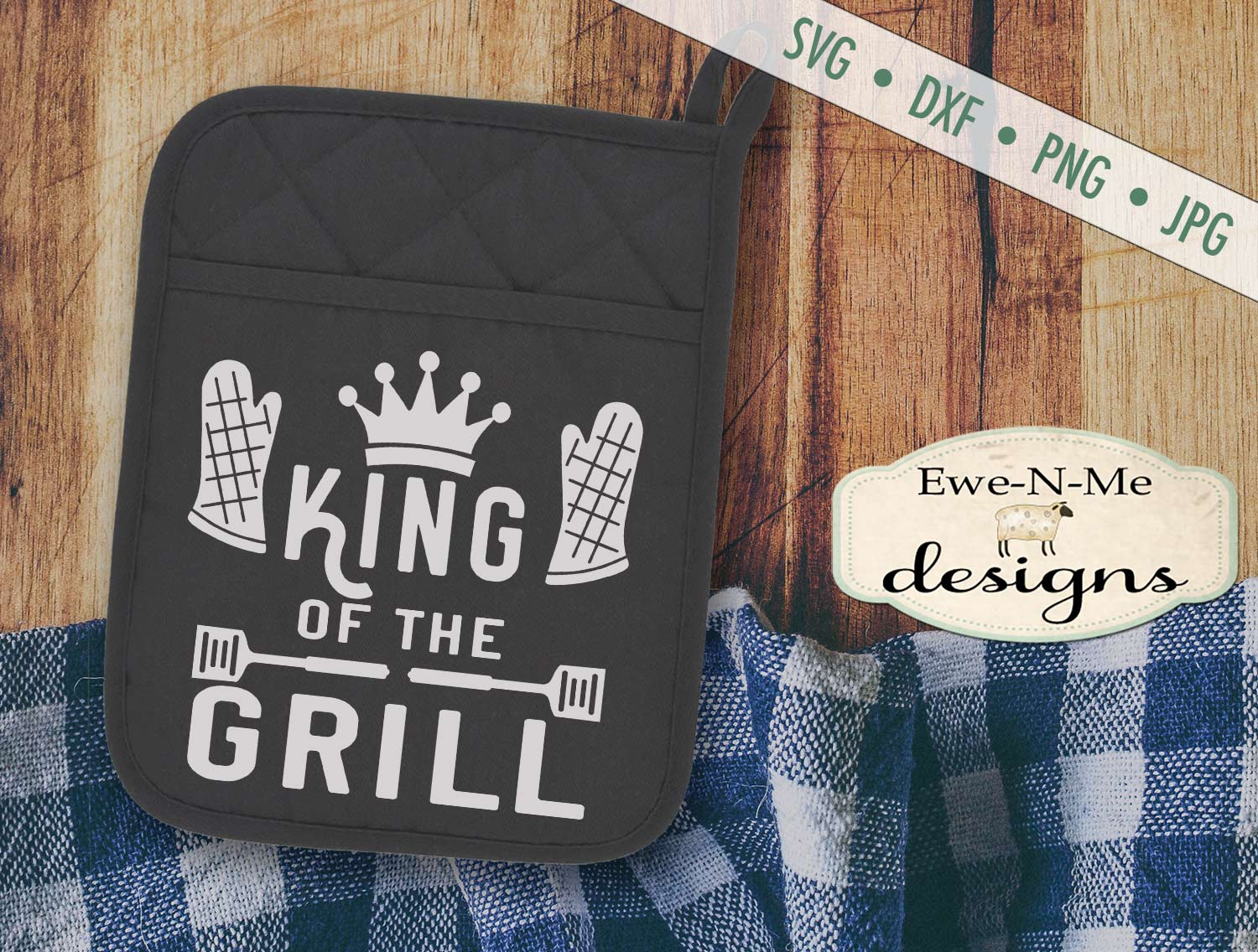Grilling BBQ Themed Pot Holder Bundle - Fathers Day SVG example image 2