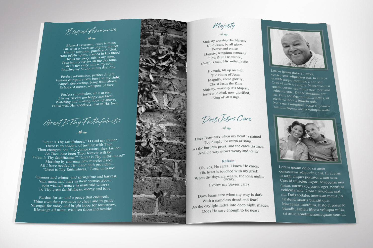 Blossom Funeral Program Word Publisher Template | 8 Pg example image 4