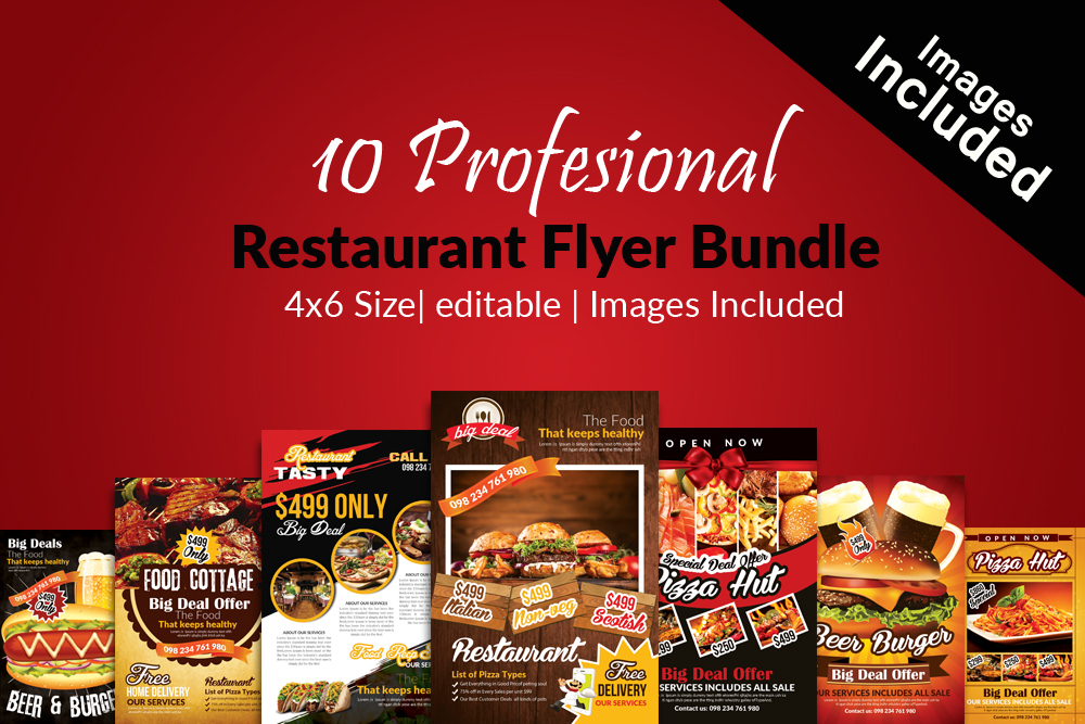 10 Restaurant Flyer Template Bundle example image 1