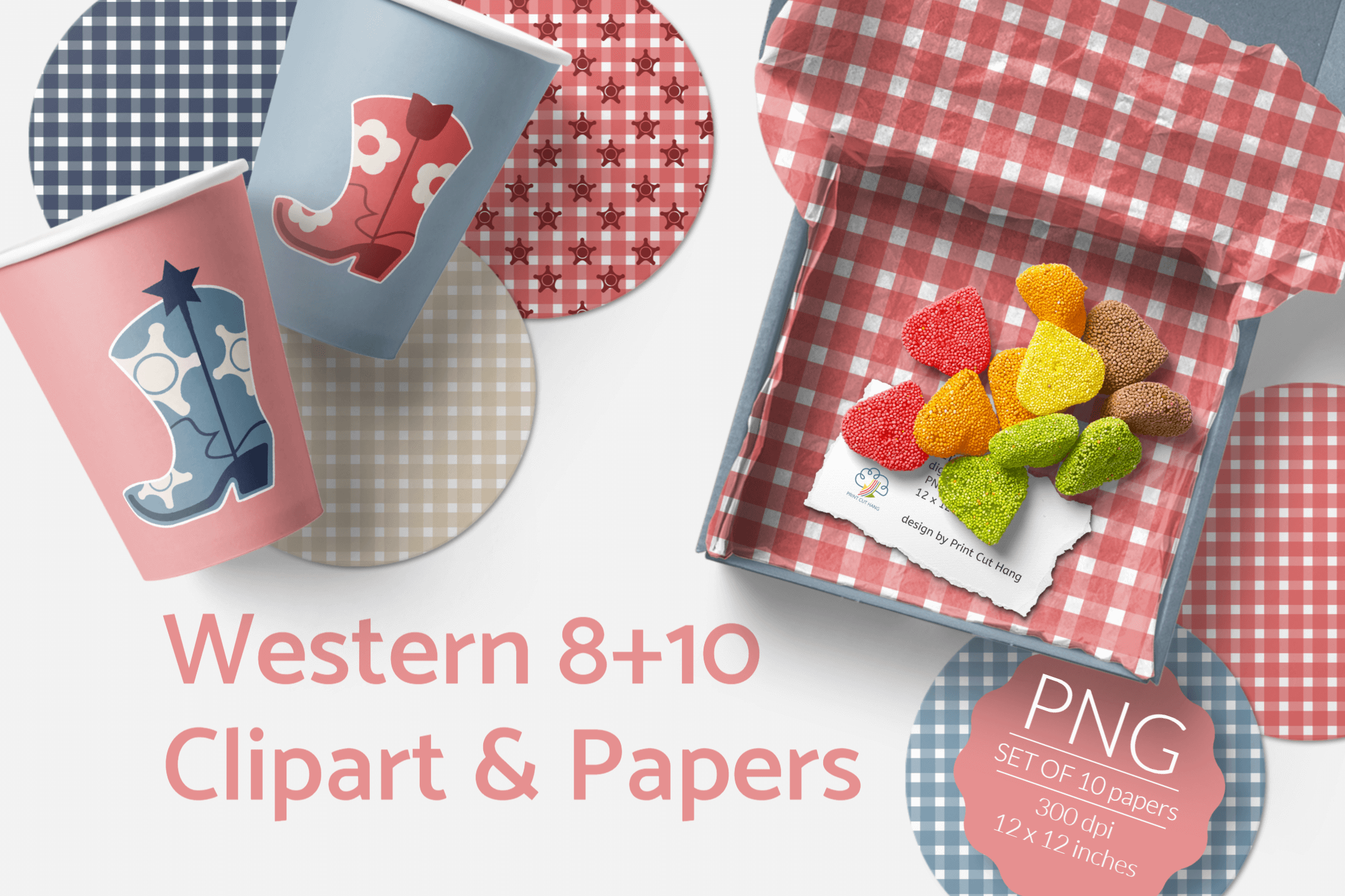 Western Clipart & Gingham Scrapbooking Papers PNG files example image 2