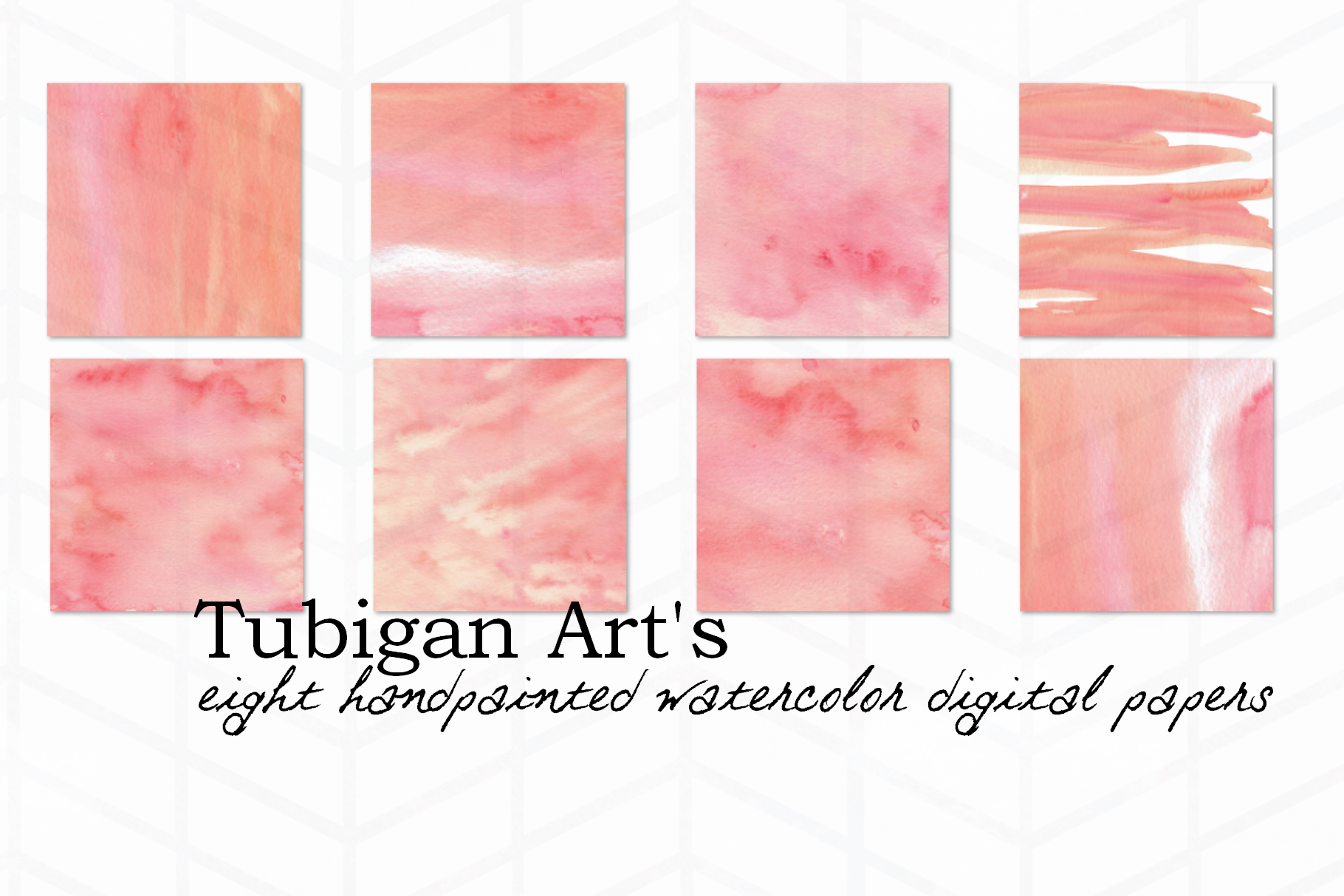 8 Rosy Watercolor Digital Paper / Textures example image 2