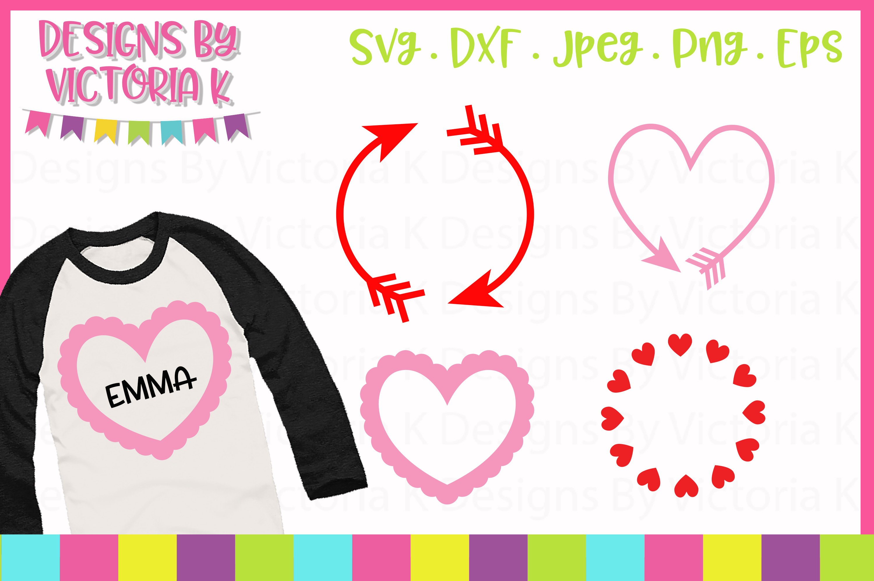 Valentine's Day Monogram Frame SVG Files example image 1