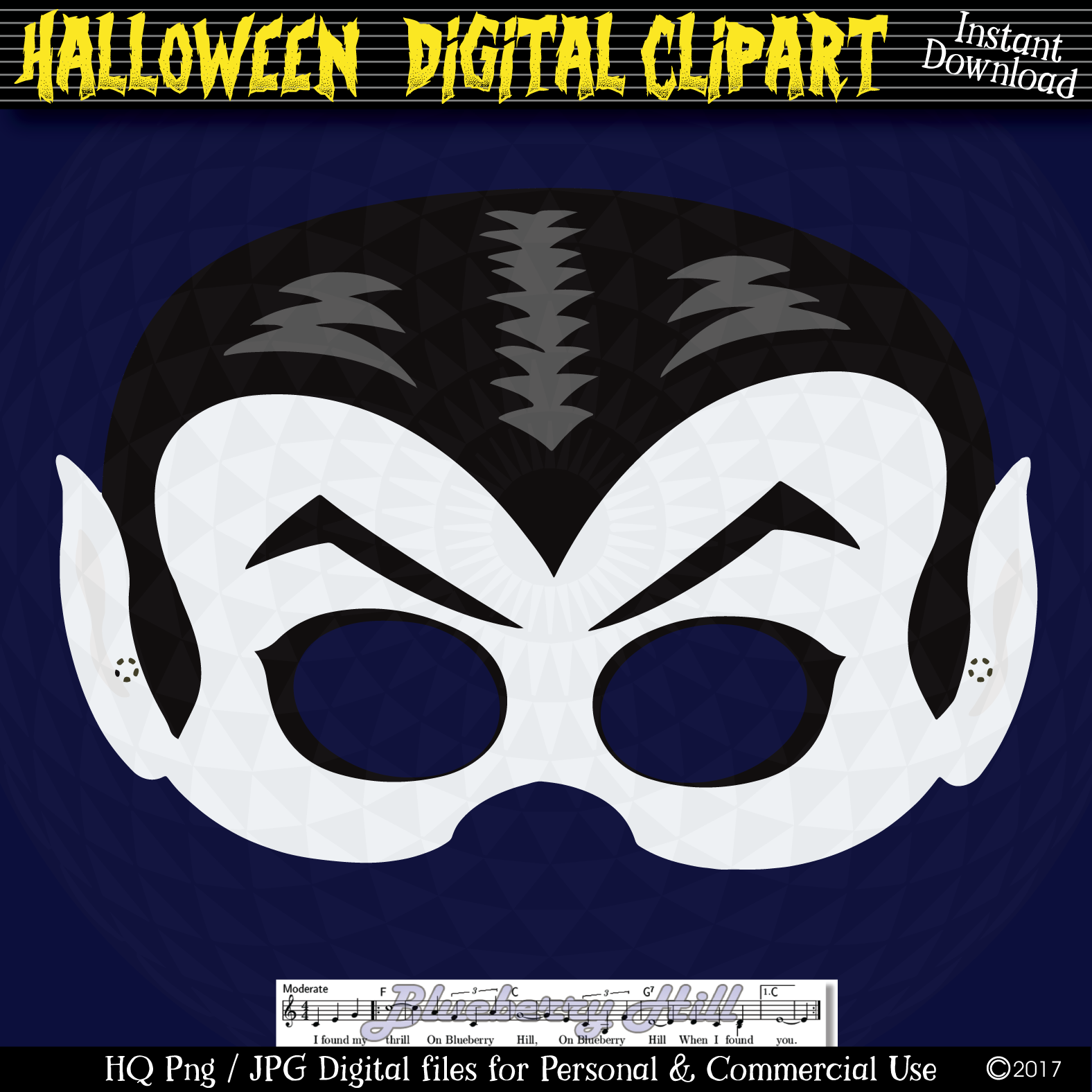 Halloween Party Masks printable, DIY Halloween Digital Clip example image 4