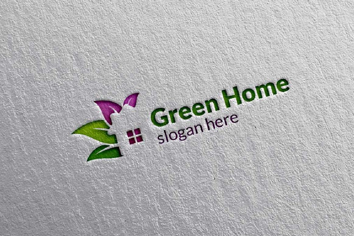 Real estate Logo, Green Home Logo 5 example image 3
