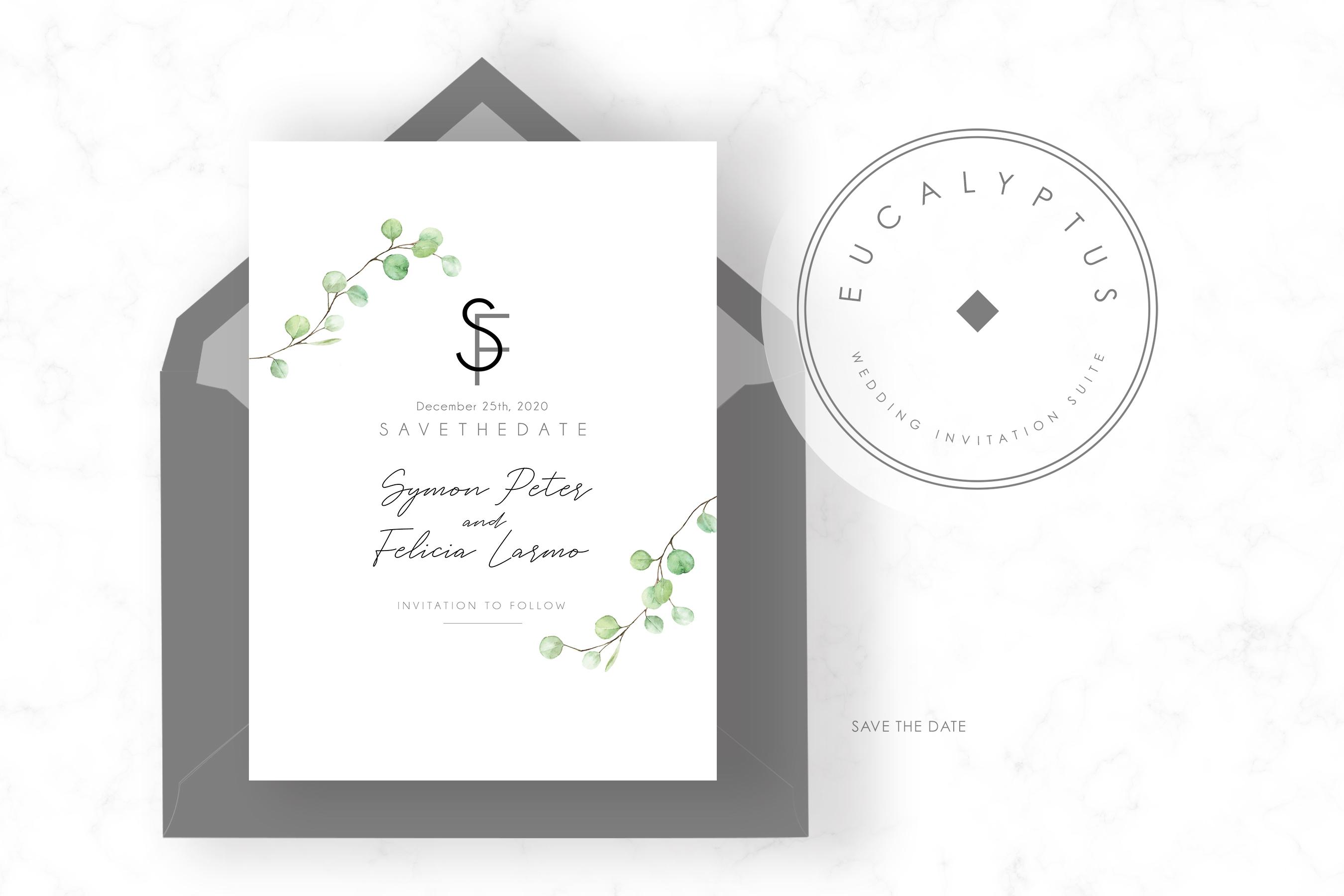 Eucalyptus Wedding Invitation Set example image 4