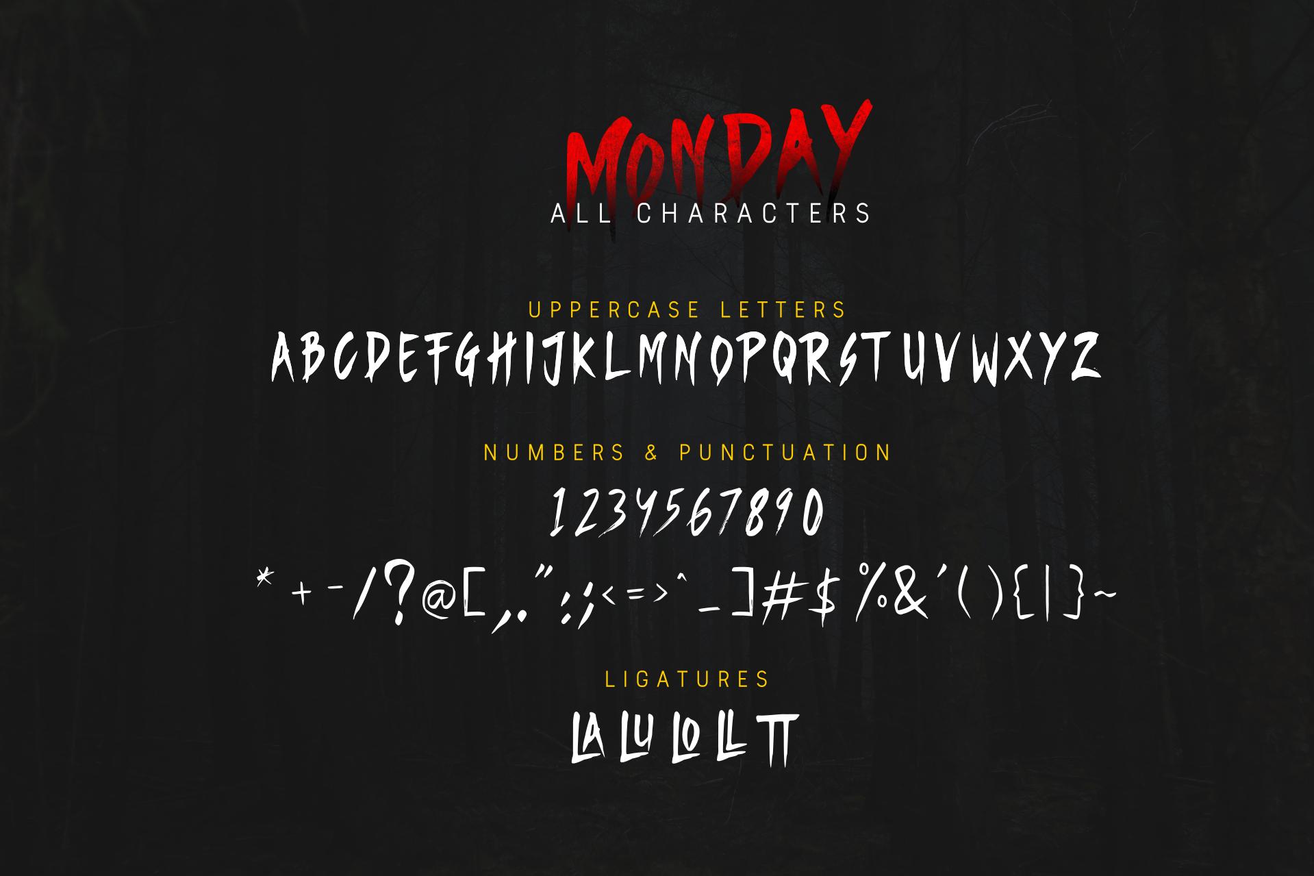 Monday - Horror Brush Font example image 5