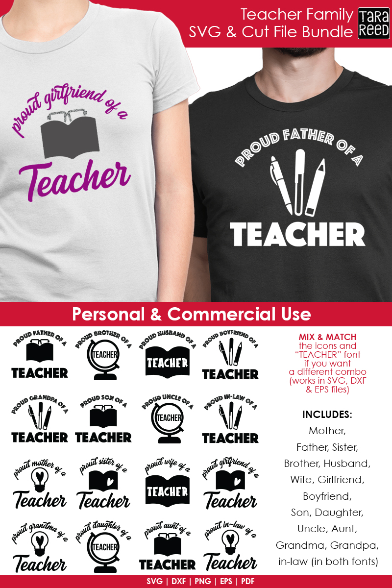 Teacher Family - School SVG and Cut Files for Crafters example image 3