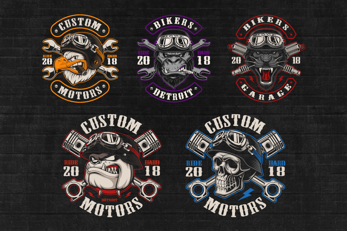 Set of Bikers Shirt Designs. example image 2