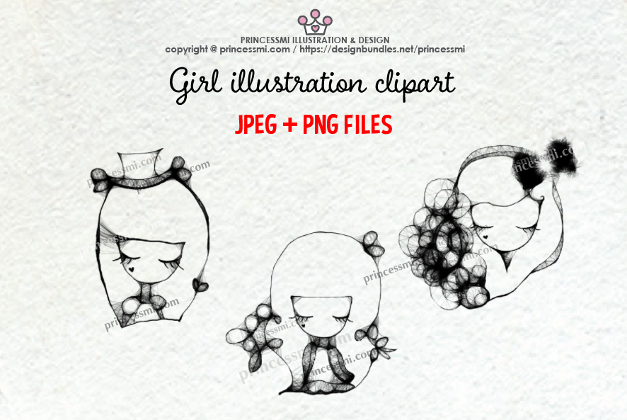 GIRLS illustration clipart 2 example image 1