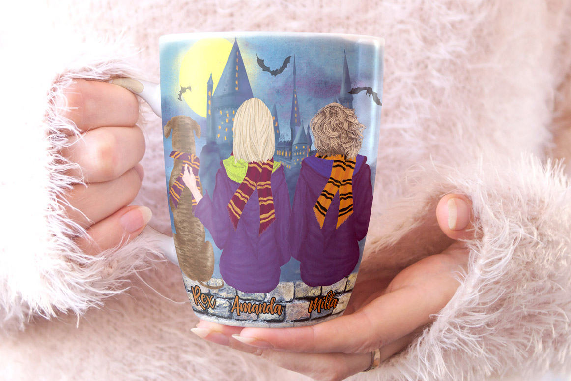 Wizard Girls, Castel Landscape, Dog clipart Wizard friends example image 3