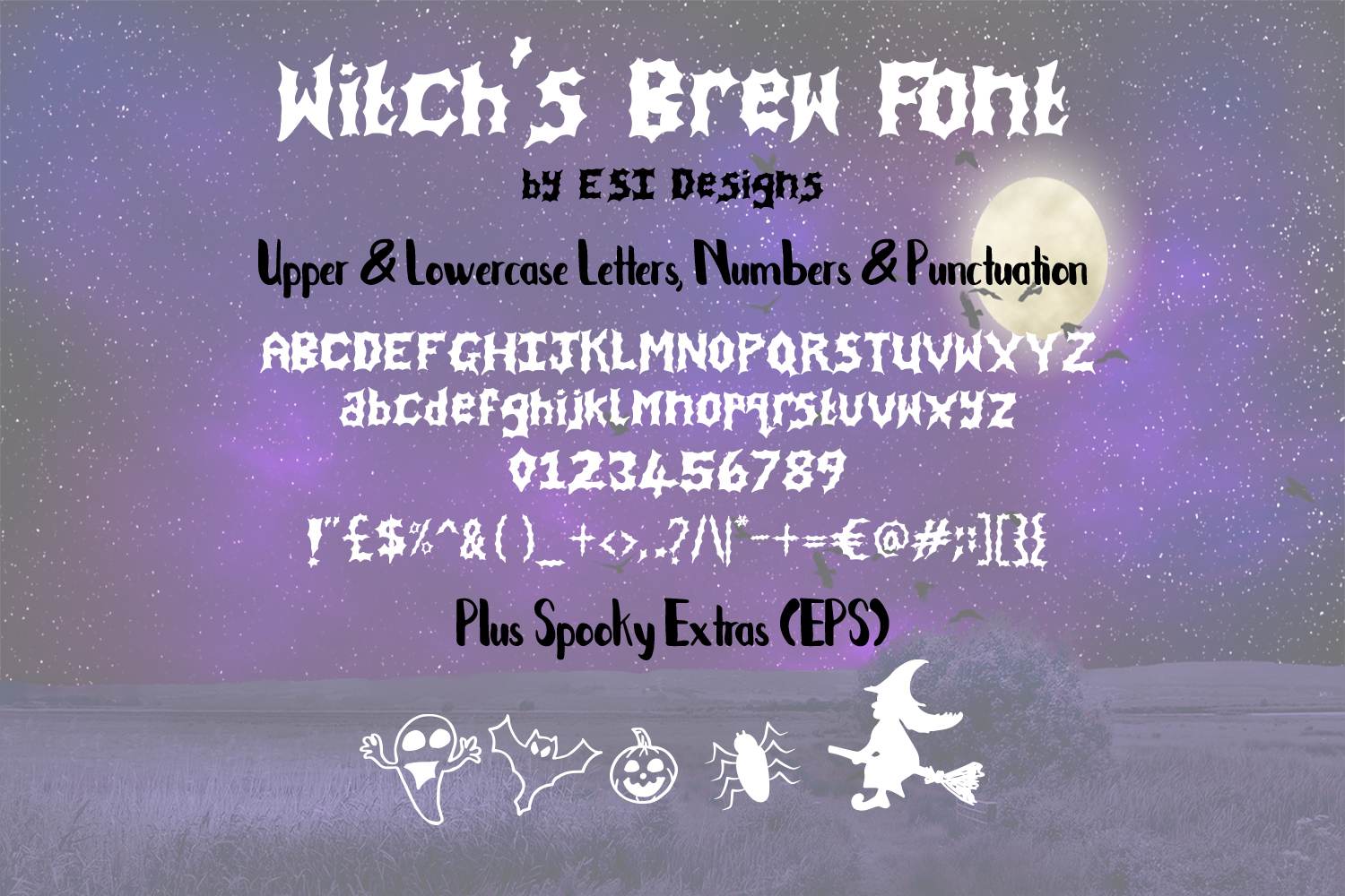 Witch's Brew - A Spooky Hand Drawn Font + Extra's example image 2