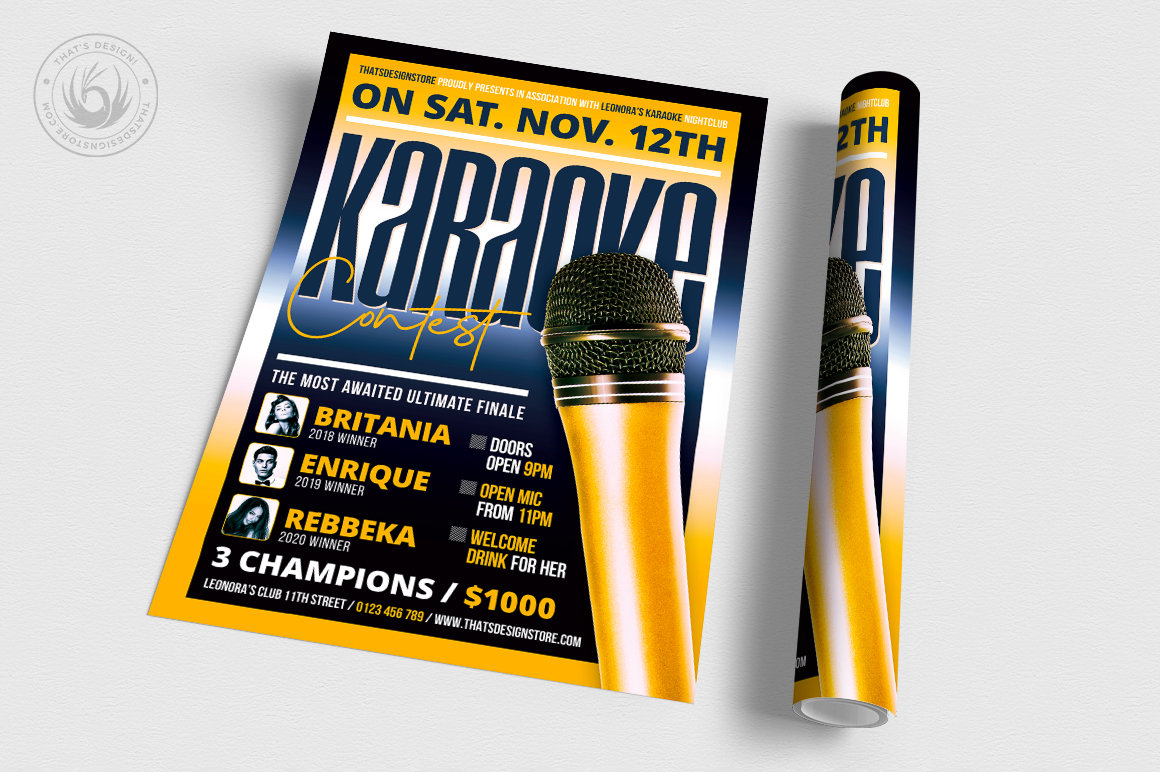 Karaoke Flyer Template V9 example image 3