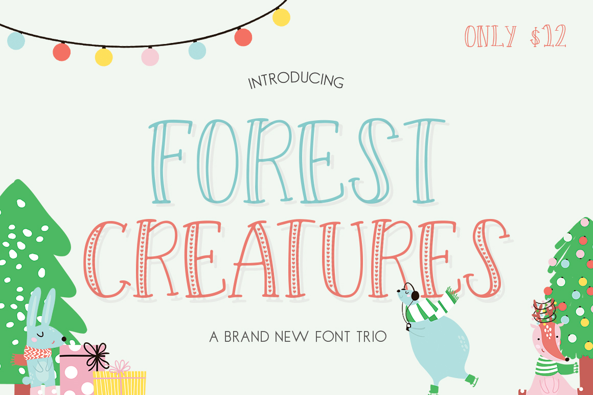 Forest Creatures Font Trio example image 1