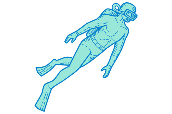Scuba Diver Diving Mono Line example image 1