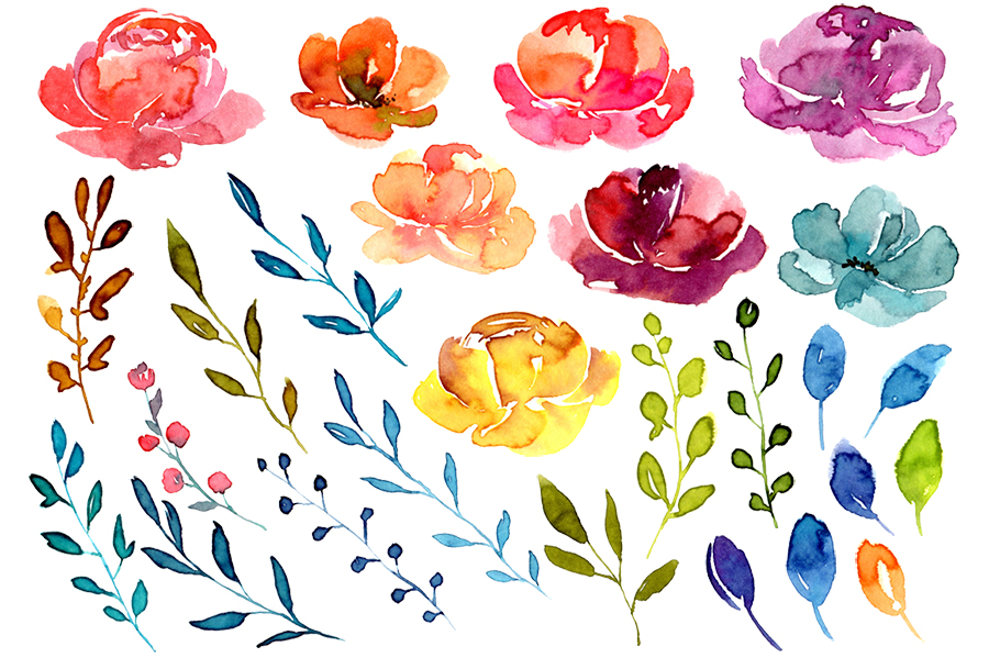 Bright watercolor summer flowers png example image 2