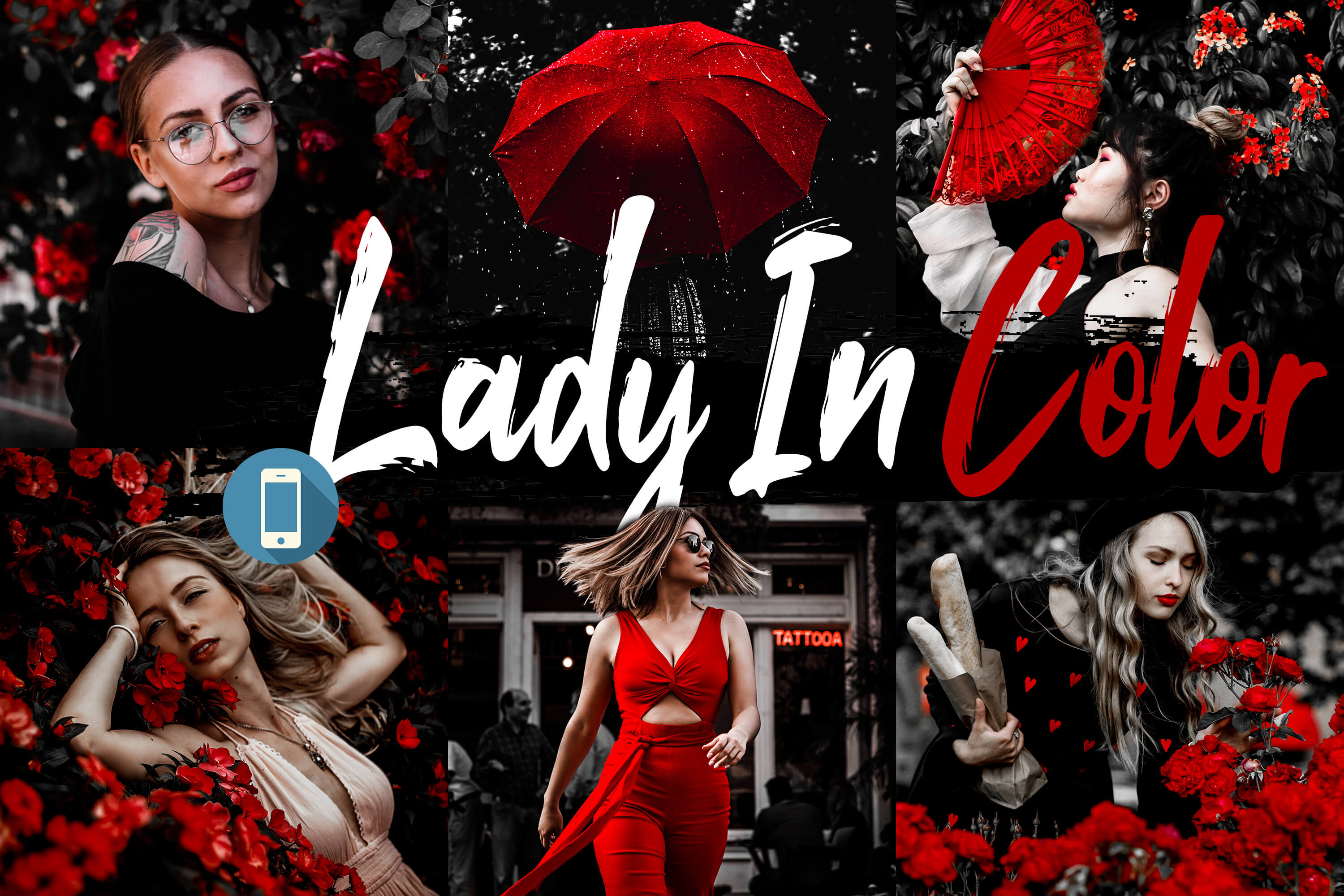 10 Lady In Color Mobile Lightroom Presets, woman in red example image 1