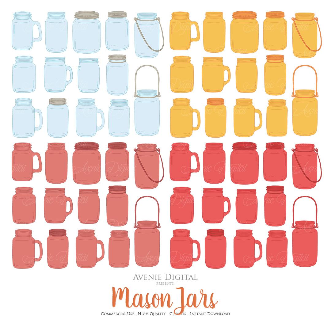 Fall Mason Jar Wedding Clipart - Autumn Wedding Graphics example image 3