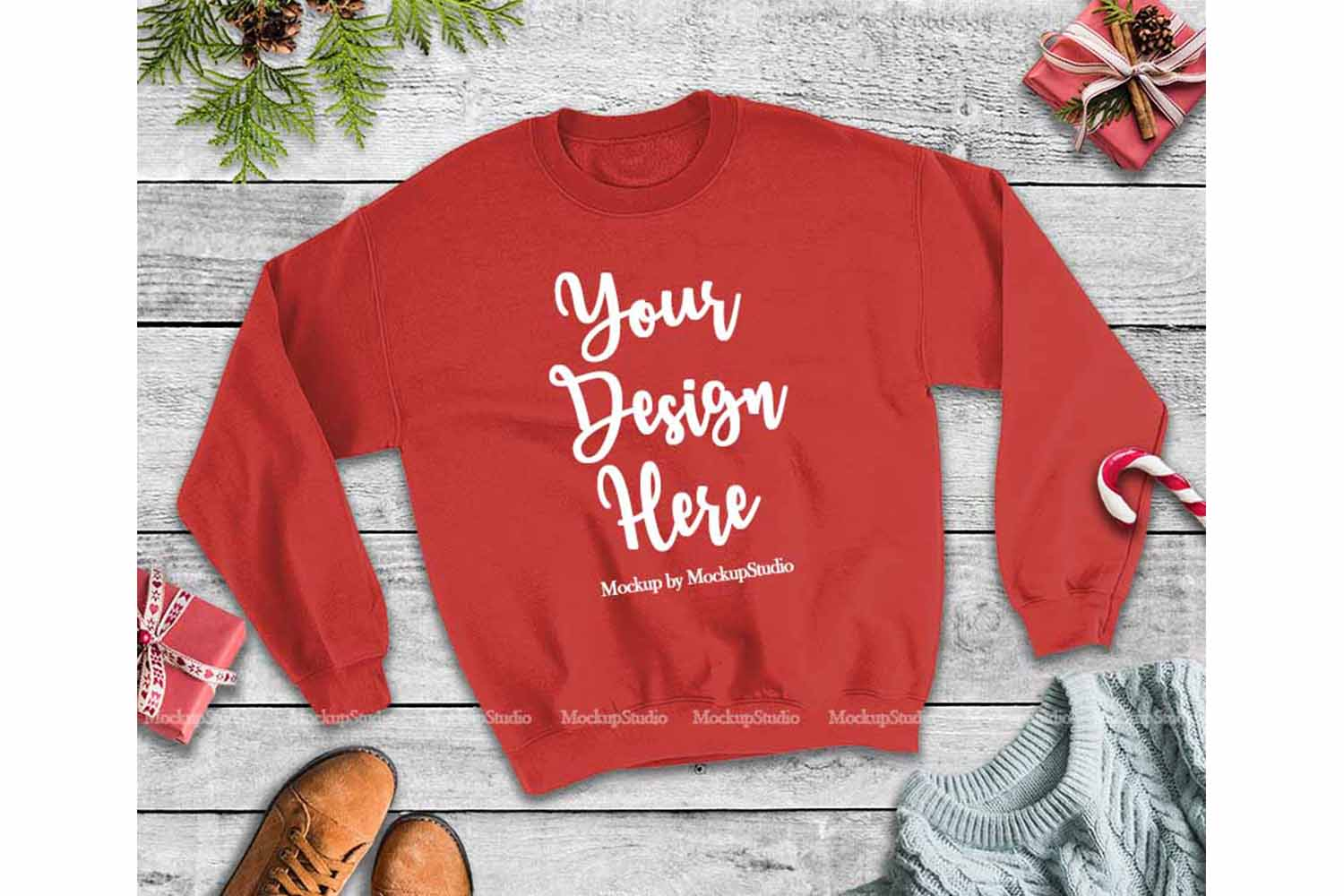 Christmas Winter Party Red Unisex Sweatshirt Mock Up example image 1