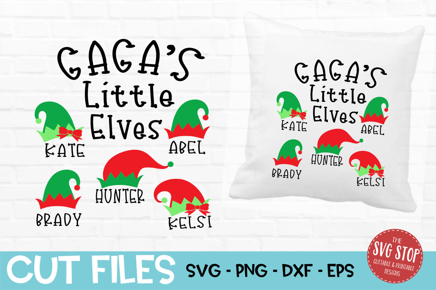 Gaga Little Elves Christmas SVG, PNG, DXF, EPS example image 1