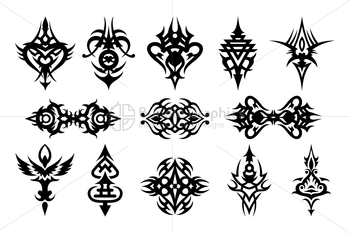 Illustartive Tribal Symmetrical Black Vector Set example image 1