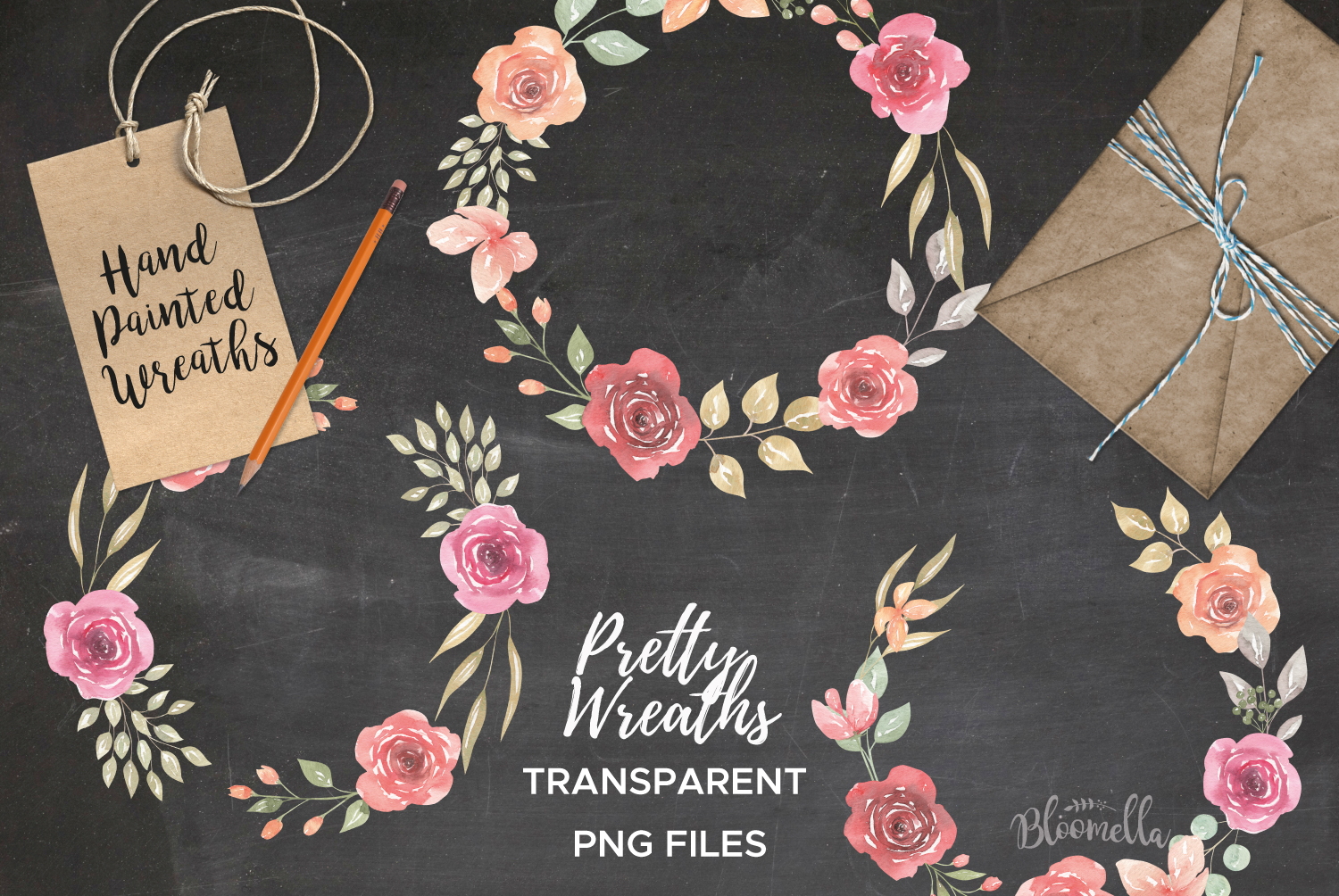 Rose Watercolor Floral Wreaths 8 Red Peach Flower Wedding example image 4