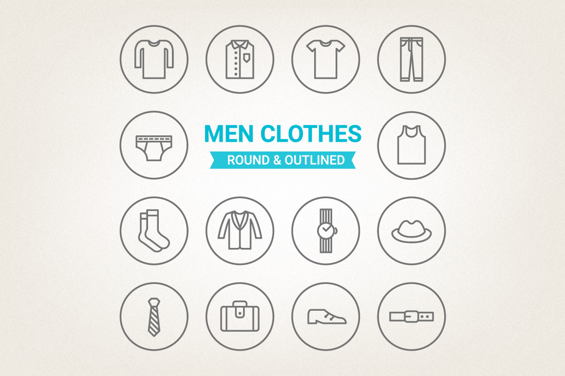 Circle Men Clothes Icons example image 1