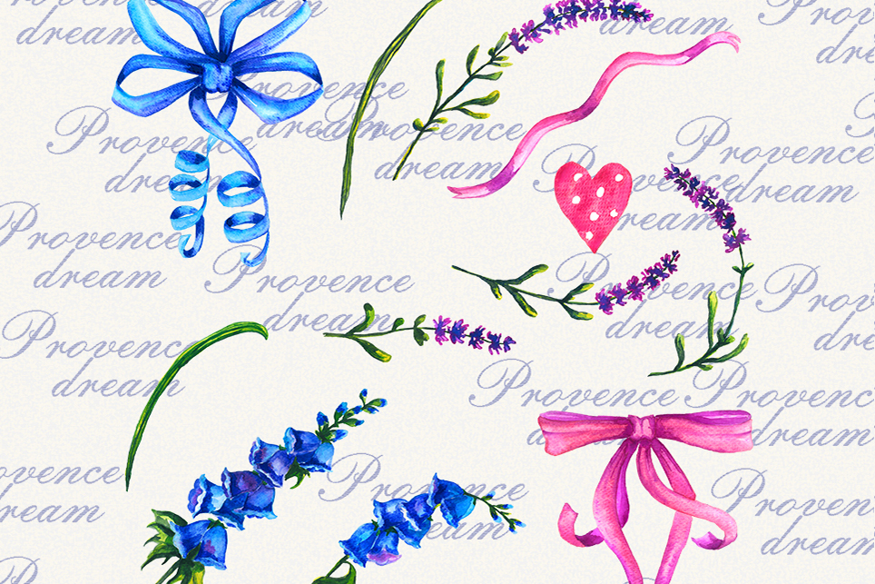 Lavender Clipart, Watercolor floral clipart, Love clipart example image 4