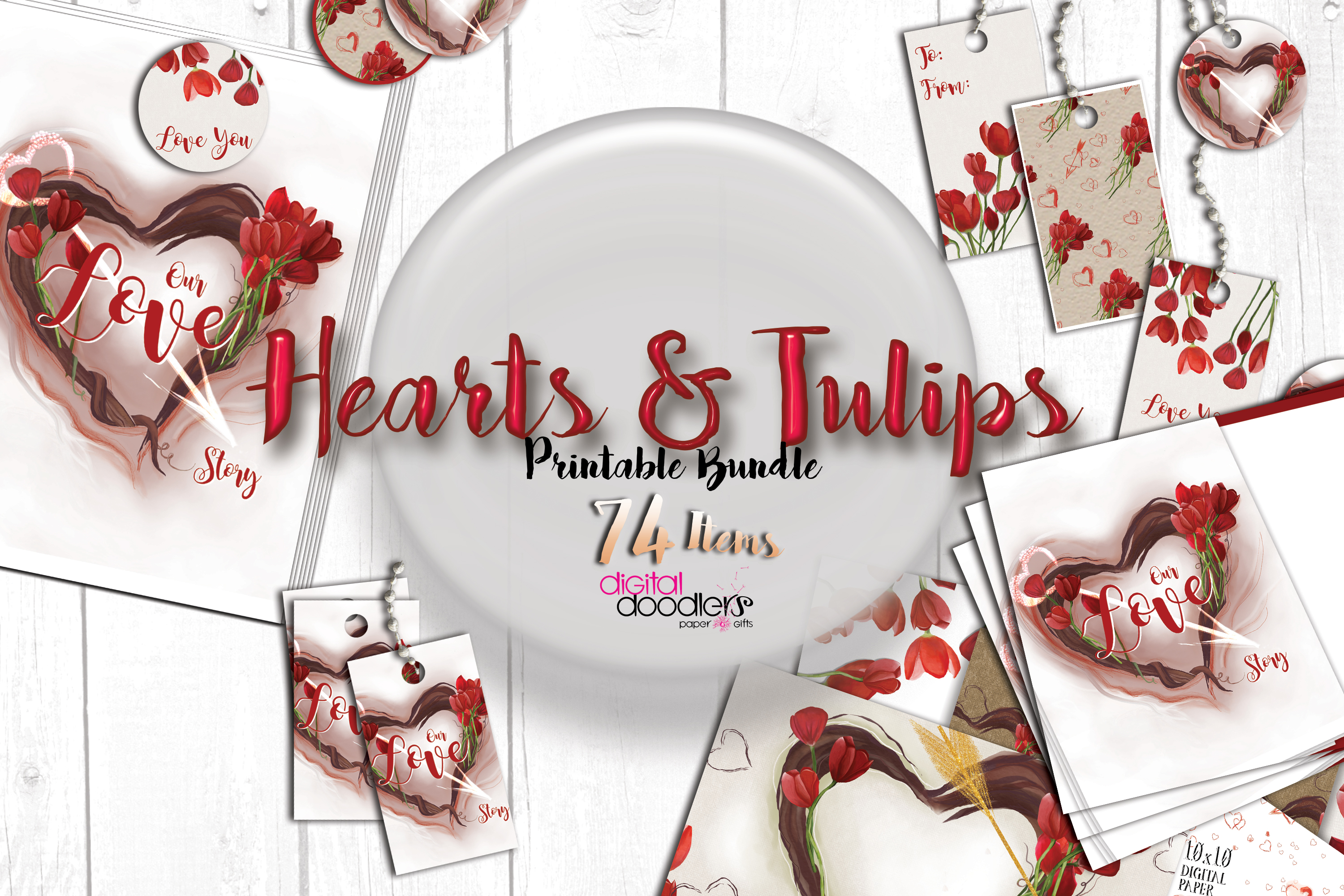 Hand Painted Hearts & Tulips Bundle example image 1