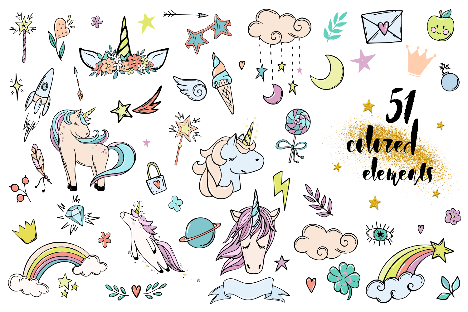 Follow the unicorn- clipart & lettering example image 6
