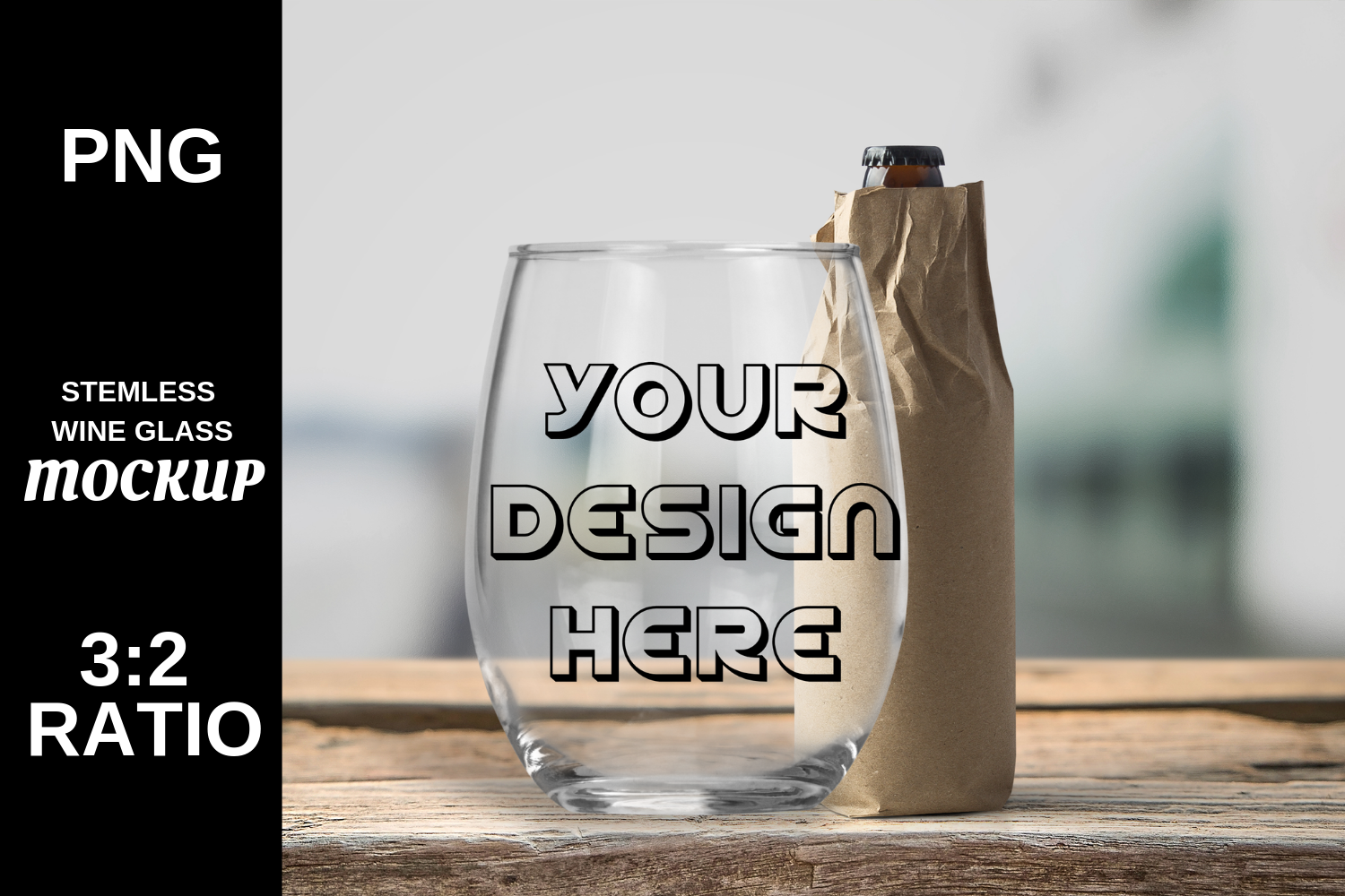 Wine Glass Stemless Mockup High Resolution - PNG example image 1