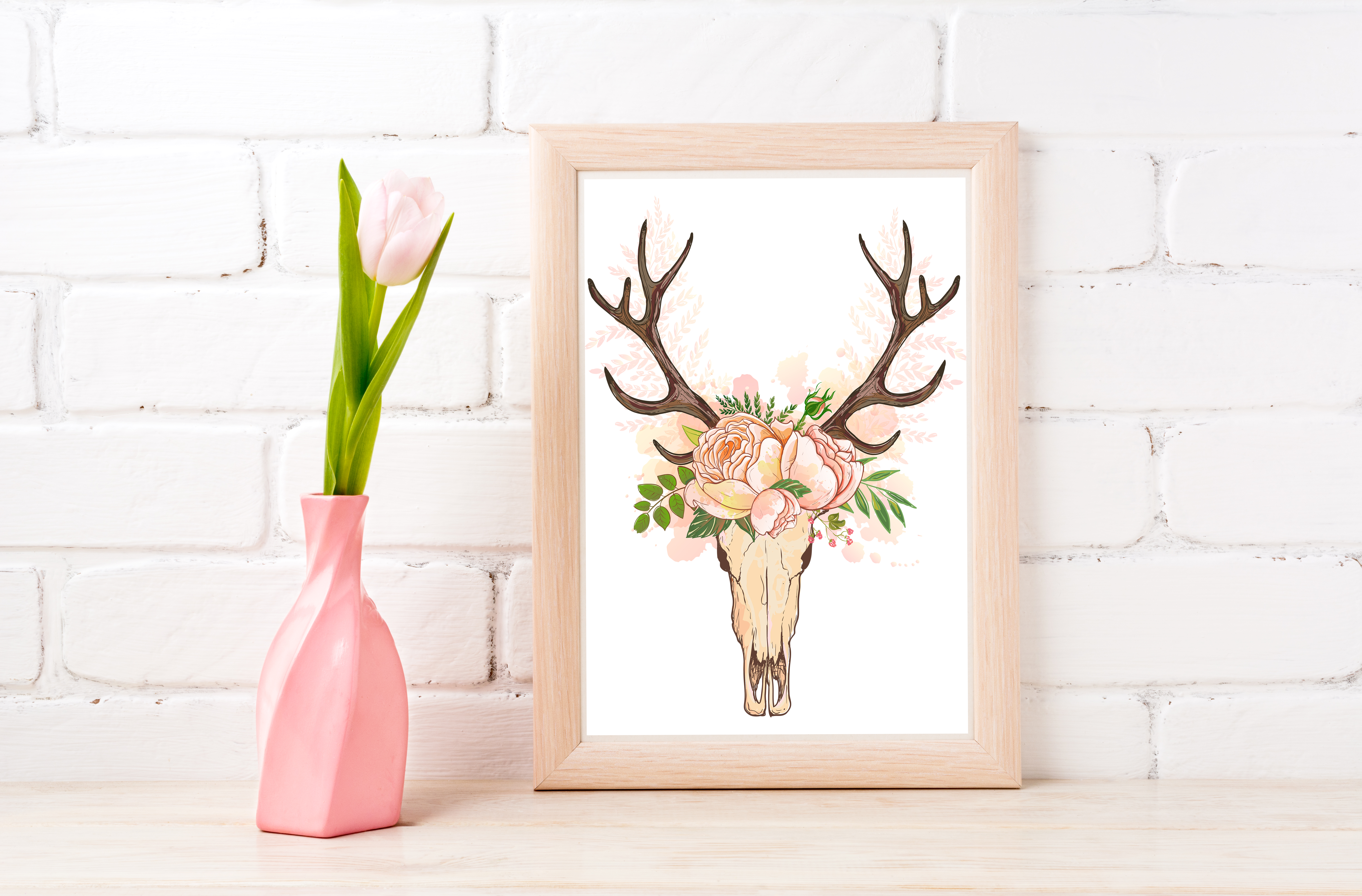 Floral Scull Wall Art Printable - Instant Digital Download example image 1
