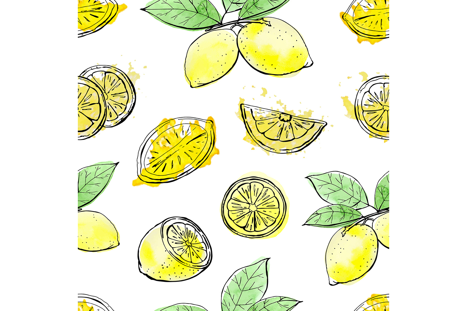 Sketch lemons. Watercolor. Vector. example image 4