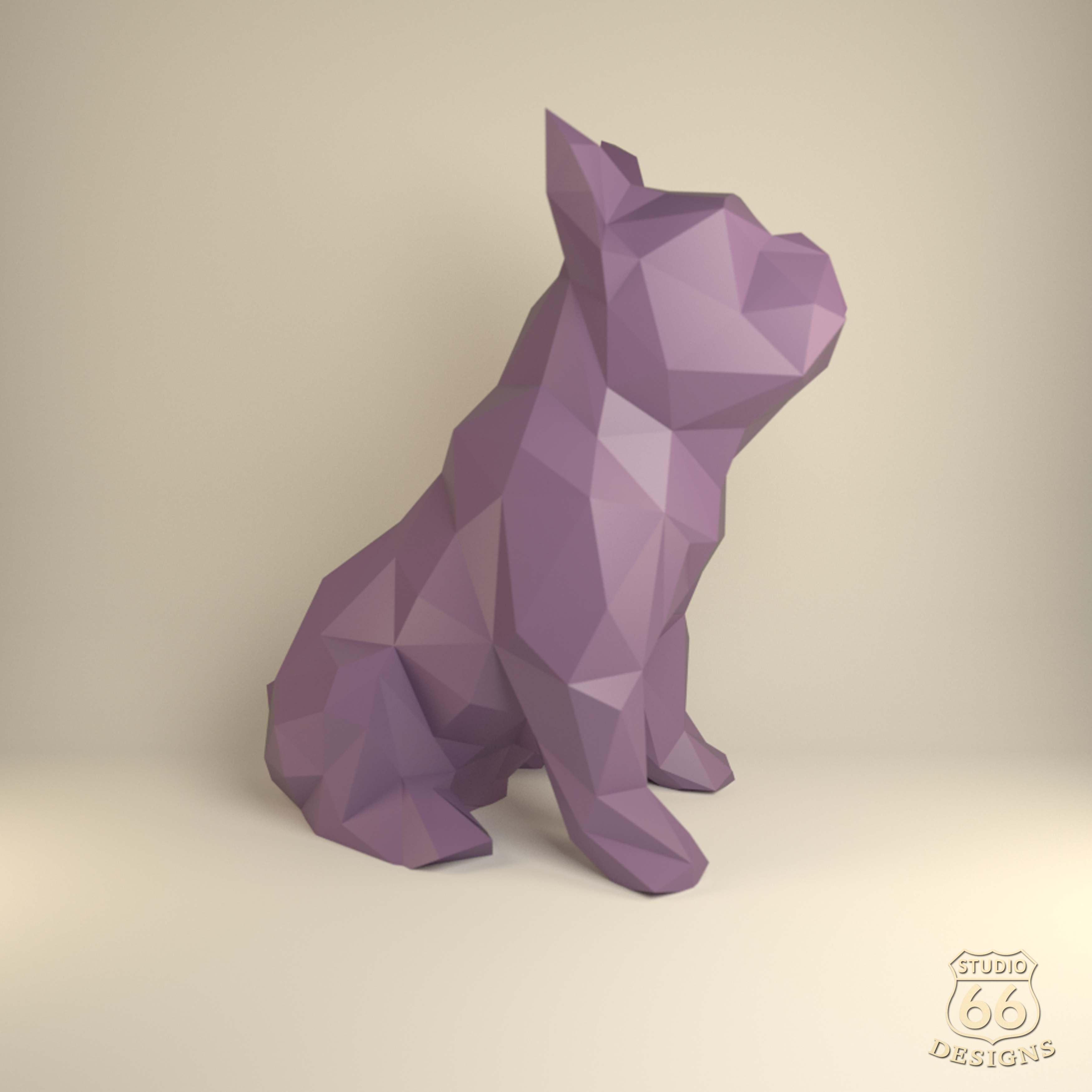 French Bulldog, Papercraft Bulldog, Paper Dog, Paper Animals, Papertoy, Home Decor, Frenchie, 3D papercraft model, lowpoly DIY, hobby idea example image 3