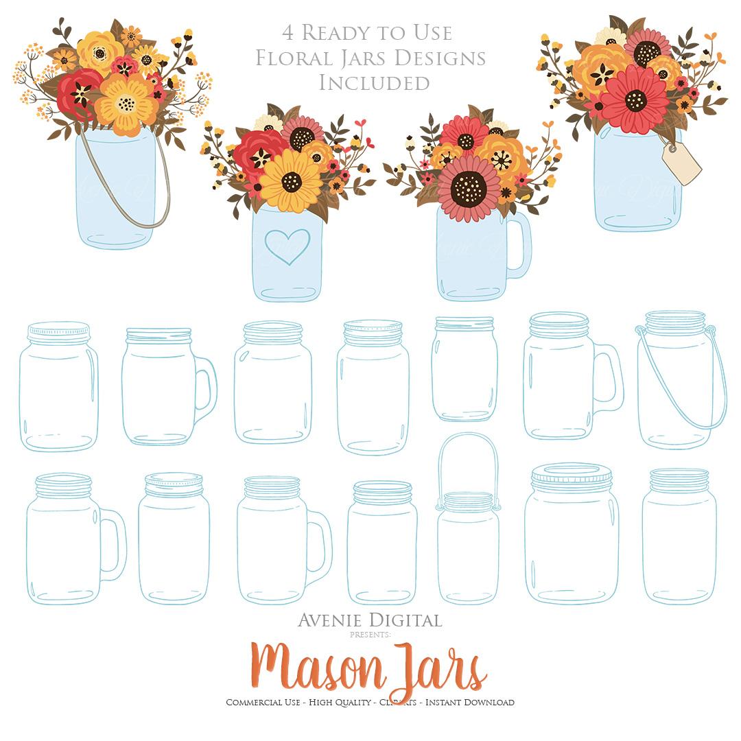 Fall Mason Jar Wedding Clipart - Autumn Wedding Graphics example image 4
