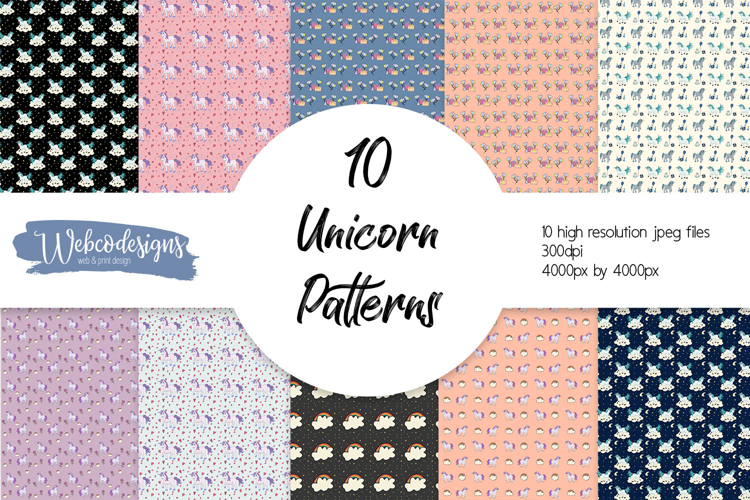 10 Unicorn Themed Seamless Patterns example image 1