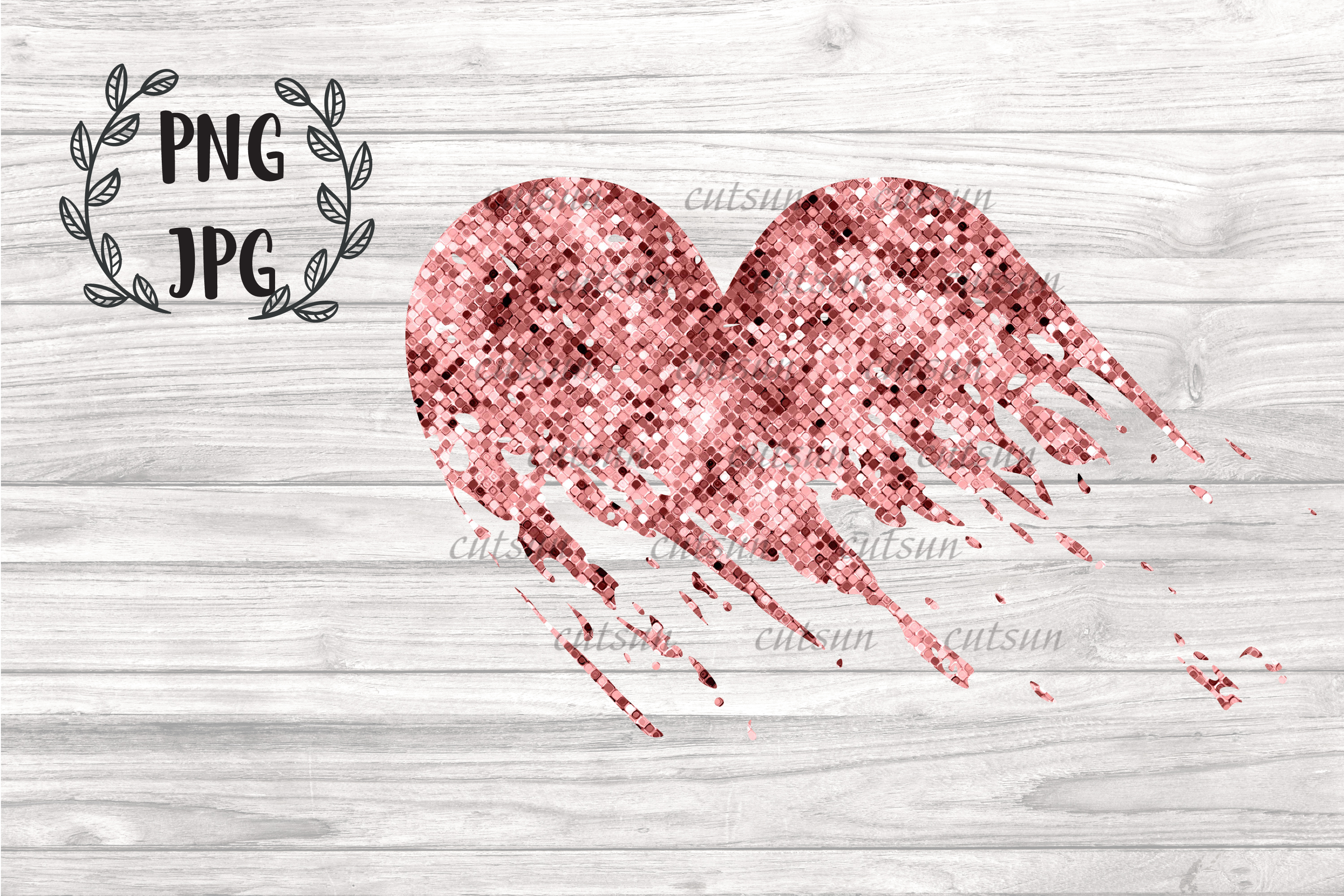 Rose Gold Distressed Heart sublimation design example image 1