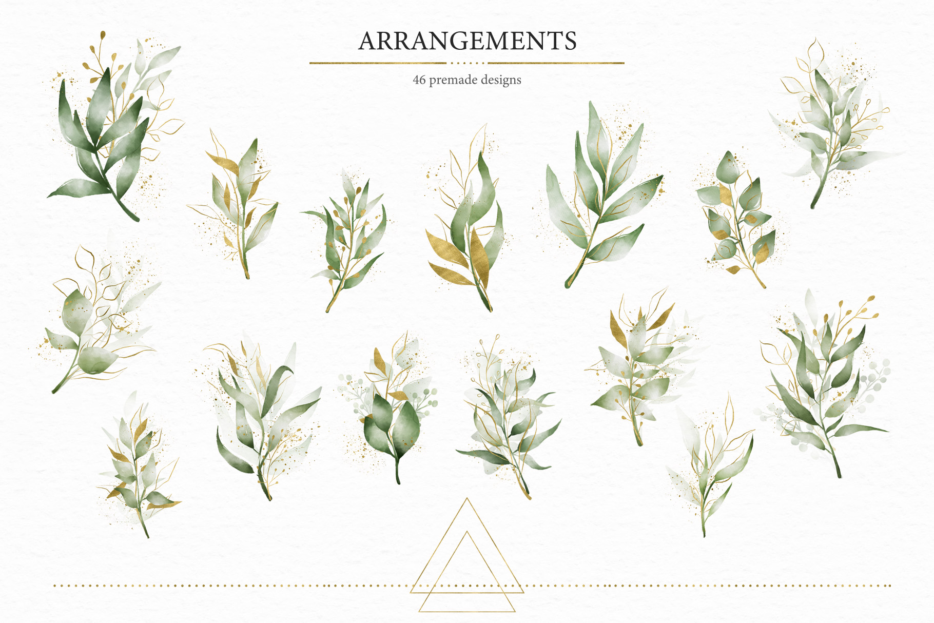 Geometrical. Gold & Watercolor Kit example image 6