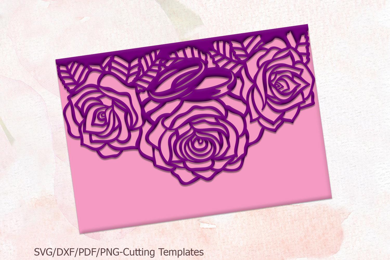 Roses wedding invitation Tri Fold Pocket Envelope set svg example image 7