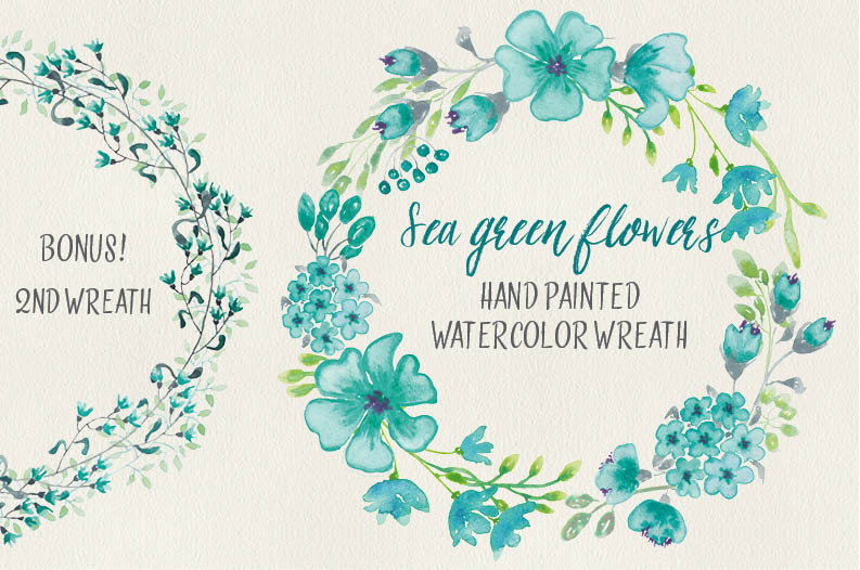 Watercolor wreath of sea green flowers example image 1