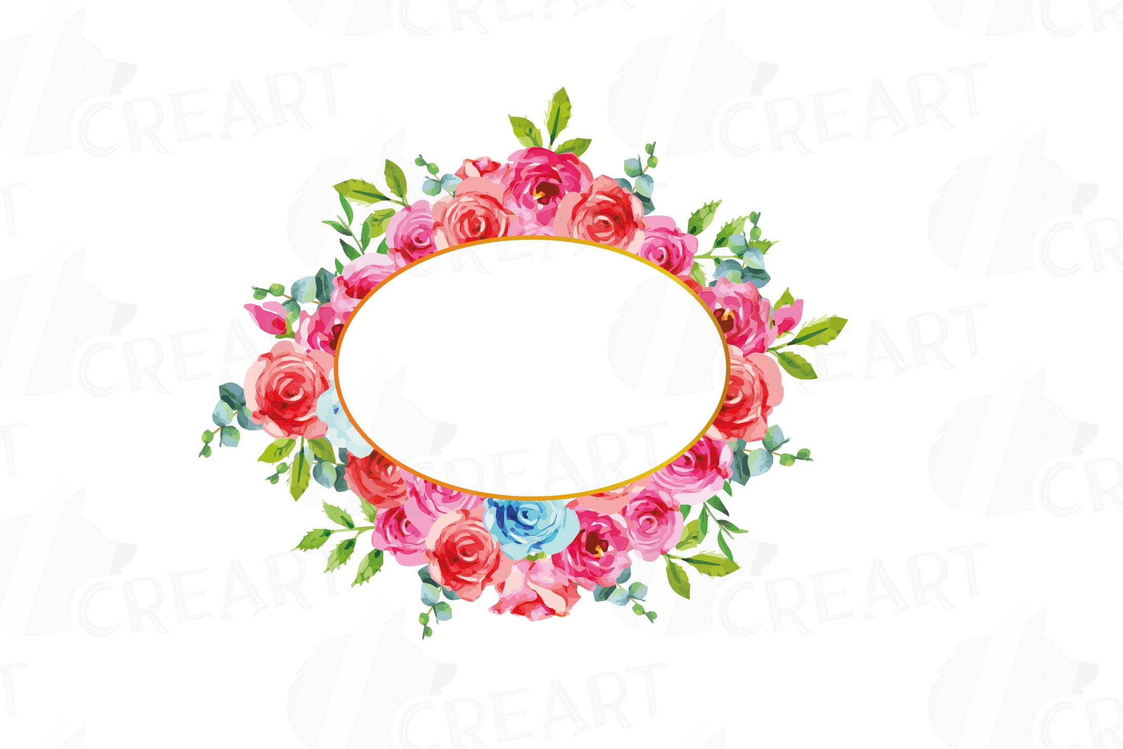 Boho pink and blue floral frames watercolor clip art pack example image 7
