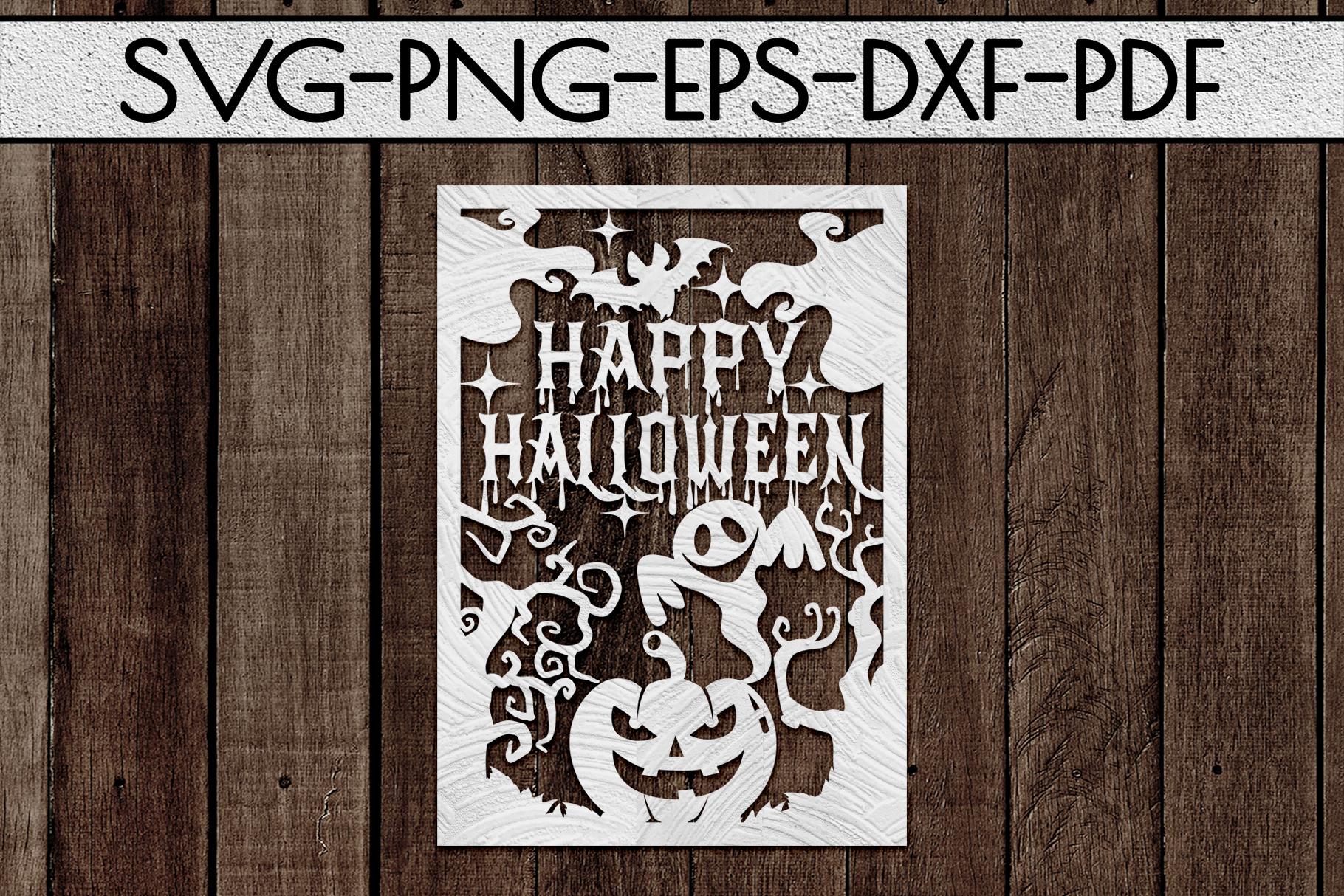 Happy Halloween Papercut Templates Bundle, Spooky, PDF, SVG example image 2