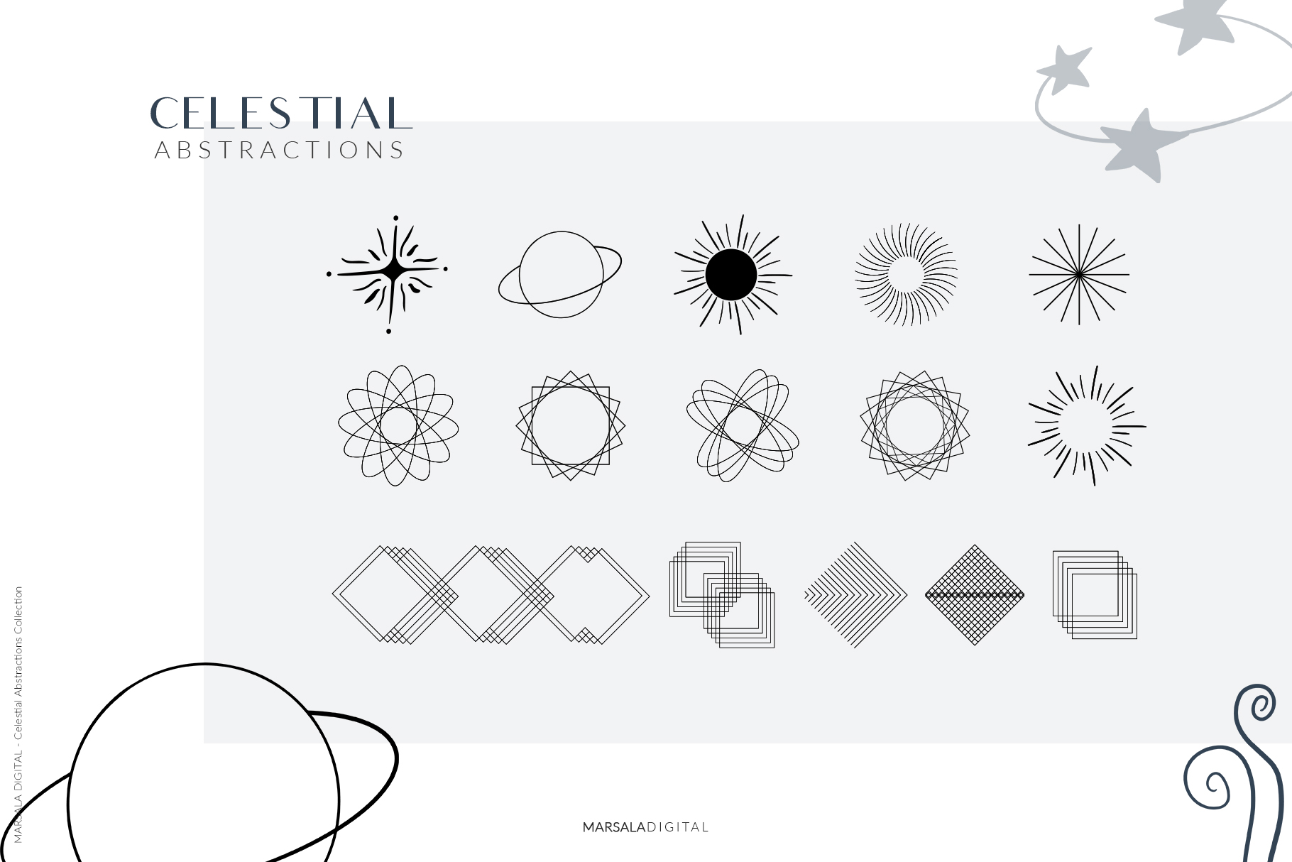 Celestial Abstract Set, Zodiac Stars example image 11