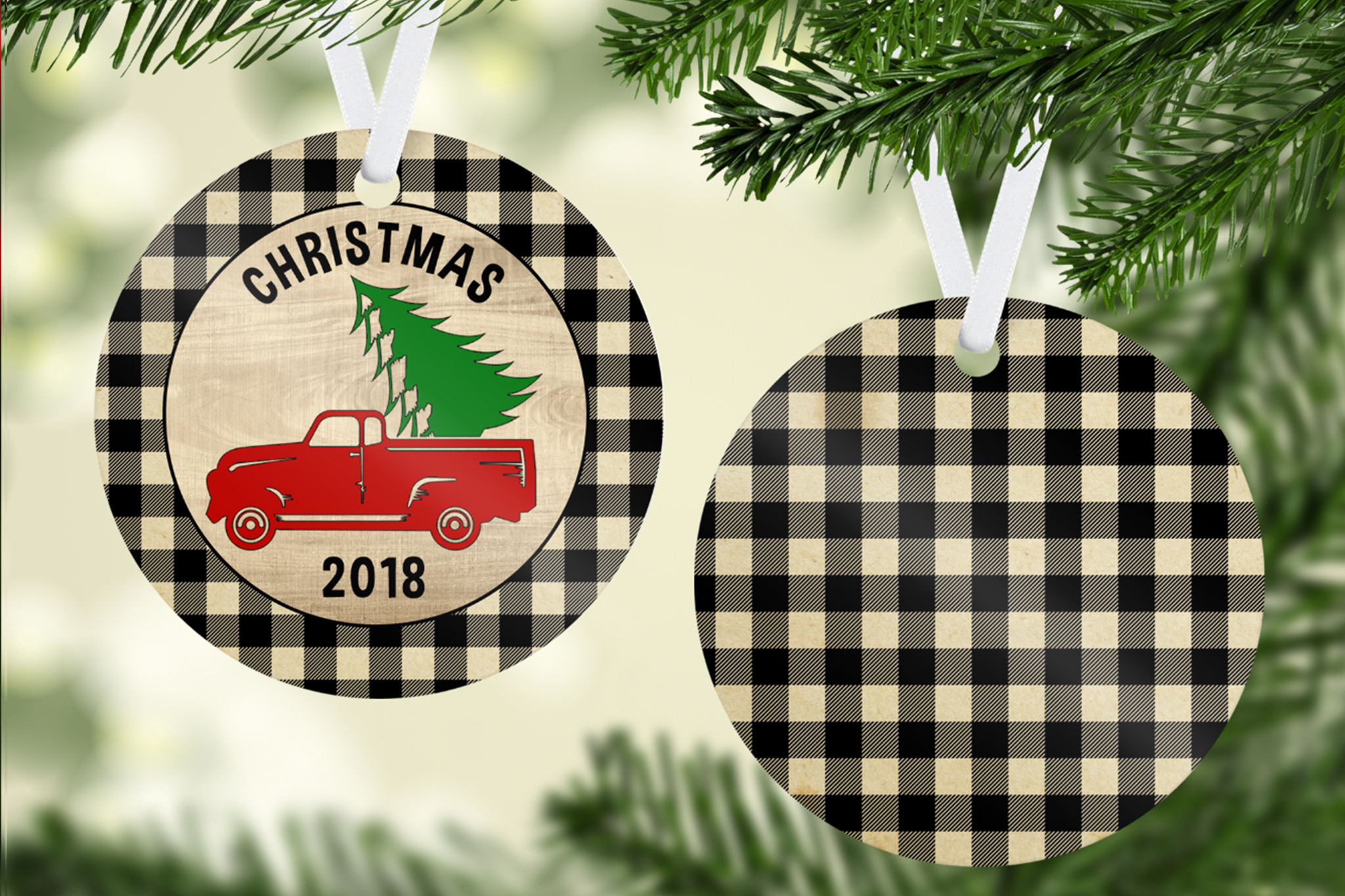 Plaid Christmas Tree & Truck Ornament Template example image 2