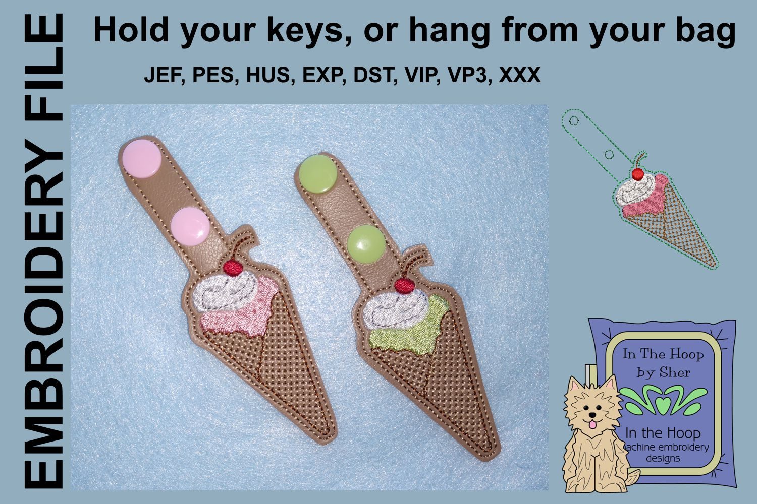 ITH Waffle Cone Vinyl Key Fob or Bag Tag - Snap Tab example image 2